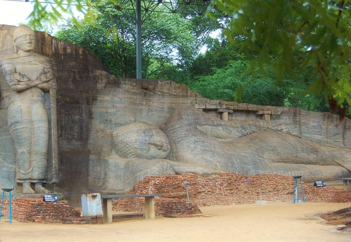Gal Vihara; large monuments of a sitting and a reclining Buddha carved into rocks. Pollonaruwa, Sri Lanka.