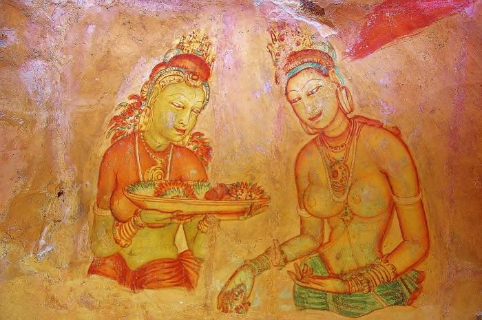 Frescos depicting naked women painted on rocks from the 5th century. Sigiriya, Sri Lanka.