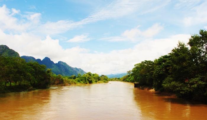 Mekong river in Laos.