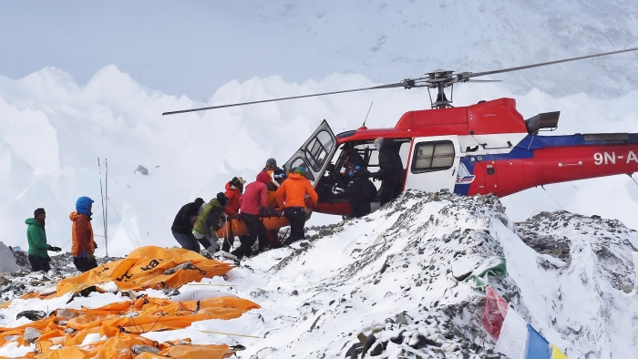 Rescuers in the Himalayas.