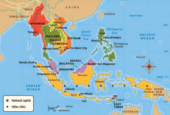 The map of Southeast Asia.