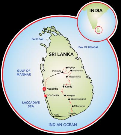 The map of Sri Lanka.