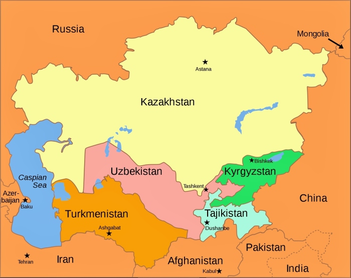 The post-Soviet republics of Central Asia.
