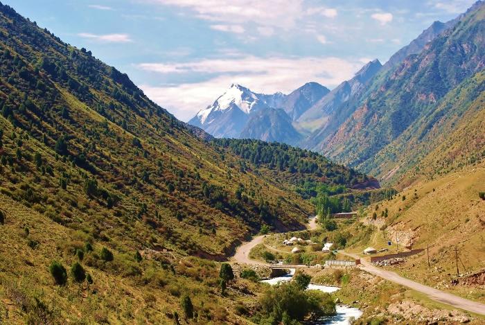 The landscape of Kyrgyzstan not far from Bishkek.