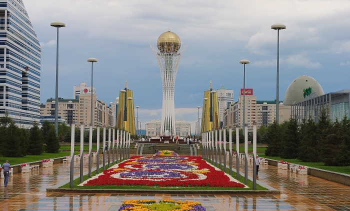Astana - Nurzhol Bulvar and Bayterek in the middle.