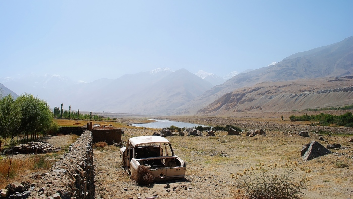 The Wakhan Valley near Ishkashim with Afghanistan on the right side of Pianj river.