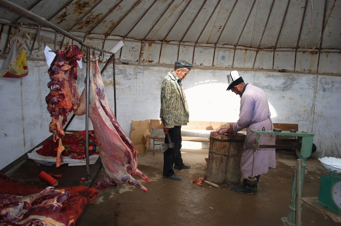 At a butcher's in Murgab.