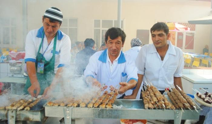 Shashliks in the capital of Uzbekistan - Tashkent.