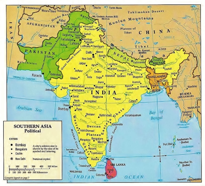 Map of South Asia (Indian subcontinent).