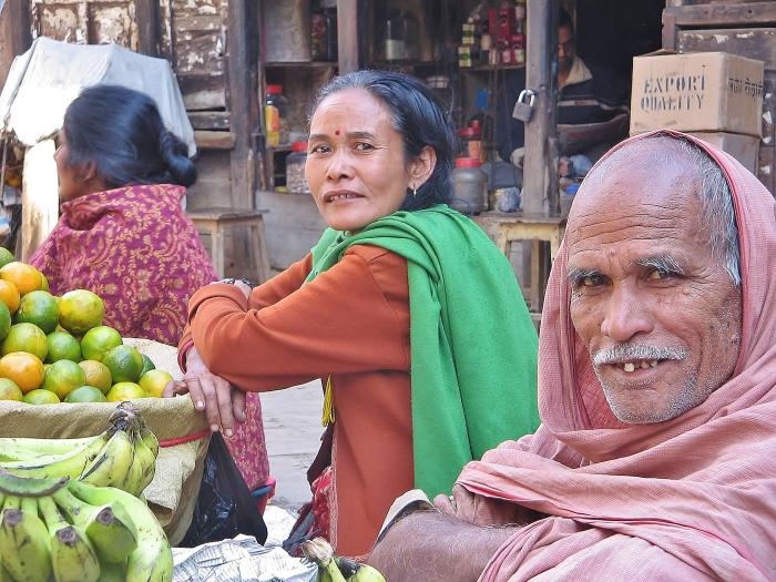 Nepal - people at a bazaar in Kathmandu.
