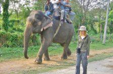 Nepal - modelka z Polski oraz słoń na drodze w Parku Chitwan.