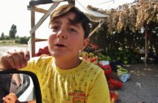 Turkey - a boy selling fruit on a road.